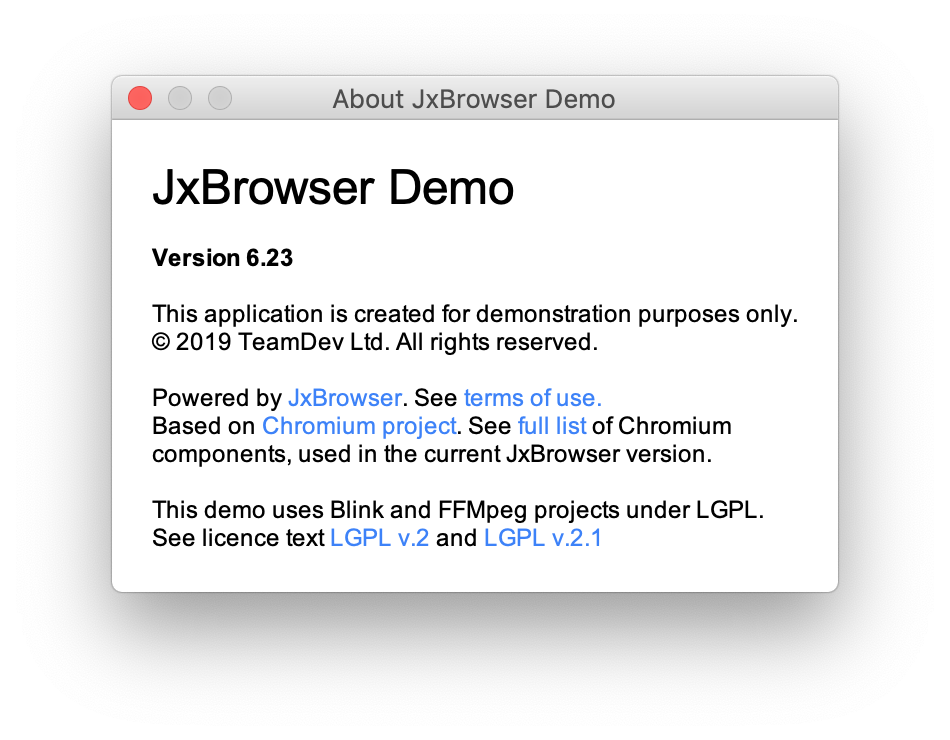 About JxBrowser Demo